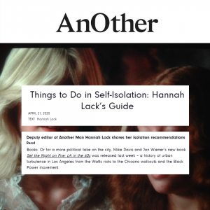 Things To Do in Self-Isolation by Hannah Lack in An0ther