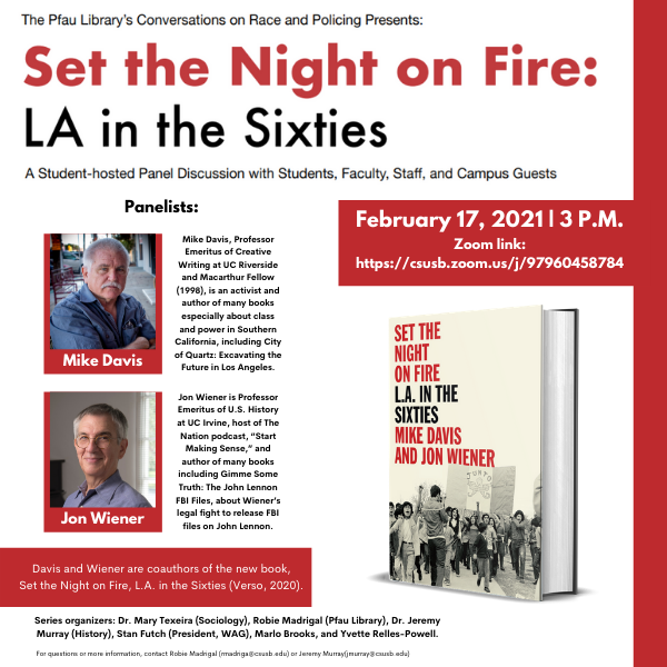 Jon Wiener and Mike Davis Pfau Library Event
